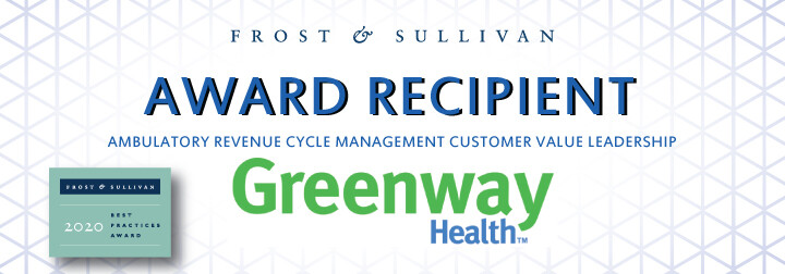 Greenway Health Appaluded by Frost & Sullivan for Helping Customers Improve their Key Performance Areas with its Uniquely Agile RCM Offerings