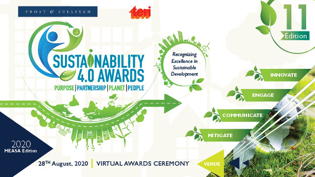 Frost & Sullivan and TERI's Sustainability 4.0 Awards 2020 Honored Companies Excelling in Incorporating Sustainability Practices into their Business Strategy
